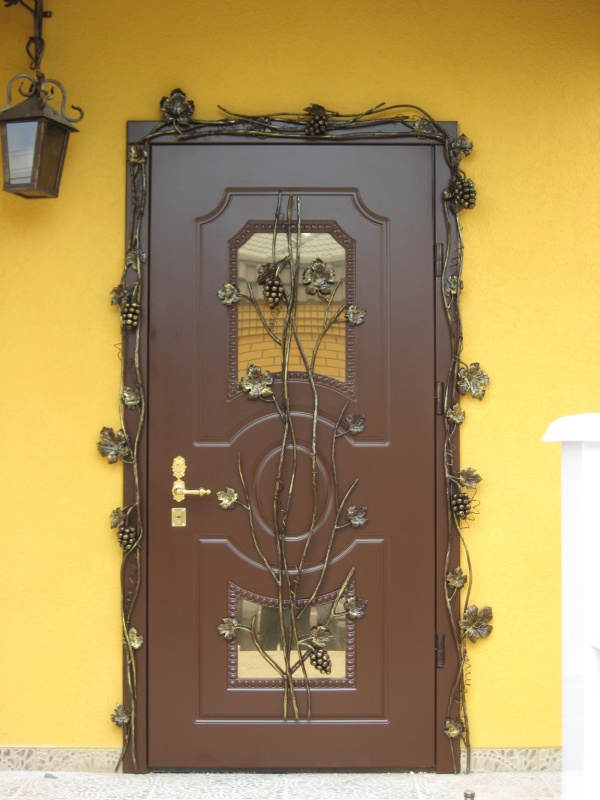 входная дверь в коттедж с кованными элементами