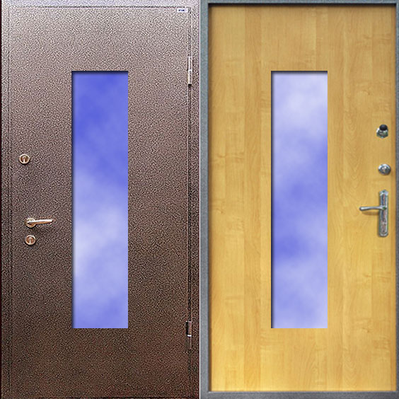 металлические двери со стеклопакетом производство